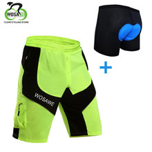 WOSAWE Mens Shorts Downhill MTB with Padded Gel 3D Underwear Cycling Bicycle Bike Water Repellent Summer