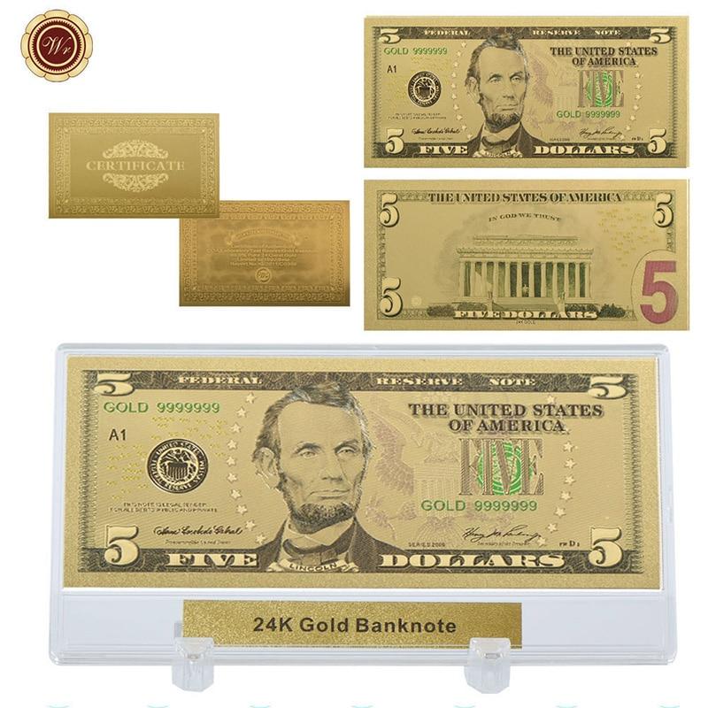 Золотая банкнота WR 5, 24 К, высокое качество, 5 долларов, золотая бумага, подарок на бумагу, художественное украшение с подставкой для показа по...