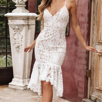 Summer Lace Dress Women Vintage Elegant Sleeveless Irregular Ruffles Floral White Bodycon Party Dresses