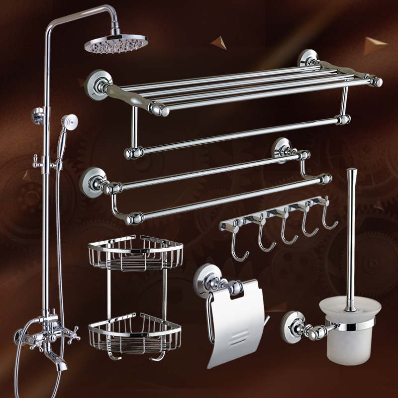 European Chrome Finish Bathroom Hardware Set With Shower Set For Bathroom Decoration