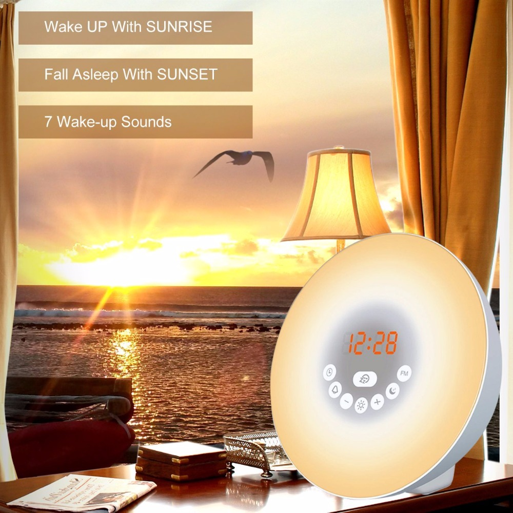 Sunrise Alarm Clock, Digital Clock, Wake Up Light with 6 Nature Sounds, FM Radio and Touch Control (White) novelty run around wake up n catch me digital alarm clock on wheels white 4 aaa