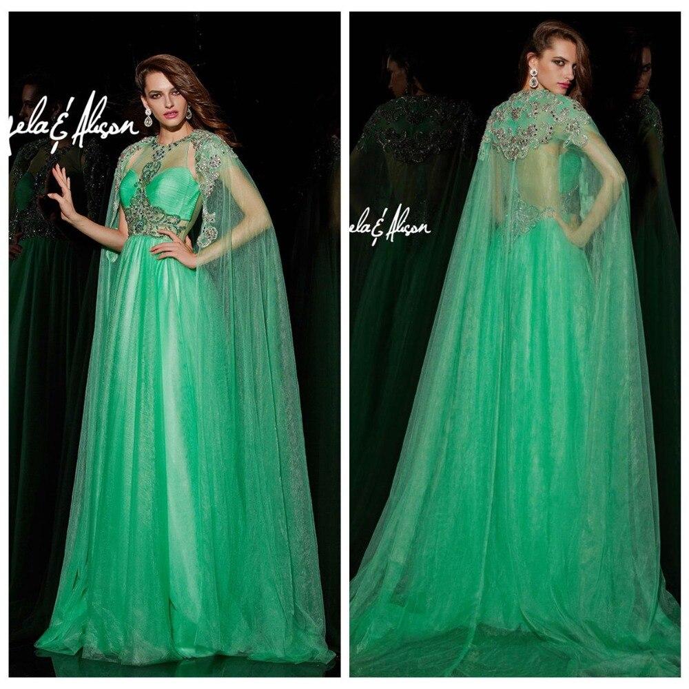 Emerald Evening Dresses 2017 Batwing Sleeve Shawl Illusion Muslim ...