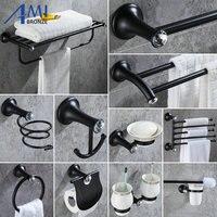 B701 Series Black Paint Stainless Steel Bathroom Hardware Towel Rack Towel Bar Paper Holder Soap Dish