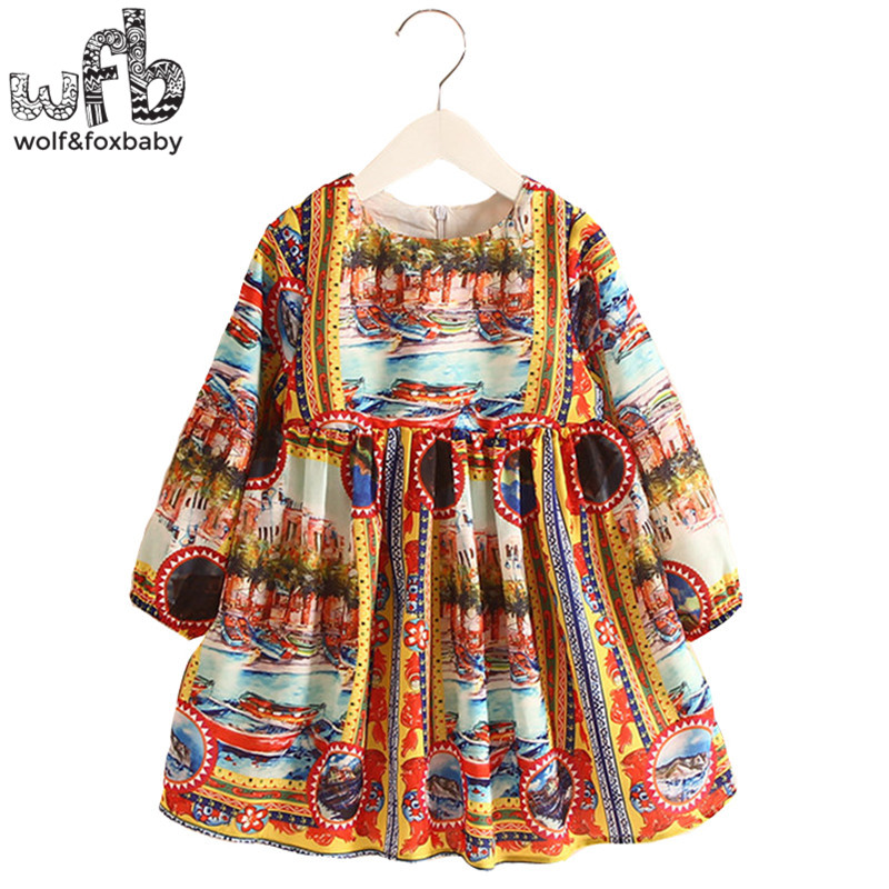 Retail 2-8 Milan Princess Dress Flax Long Sleeve Clothing Baby Girl Cute Palace Style Korean Floral Print Spring fall 2016 New 2 10yrs girls dress kids princess dress long sleeve baby girl cute palace style blue and white floral embroidery spring 2017 new