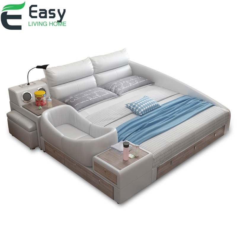 Easyliving Home Genuine Leather Multiple Function Bed With Cot Crib Baby Bed For Bed Room Furniture