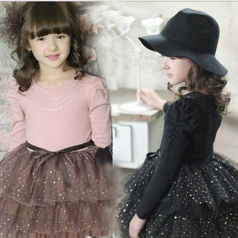 Fashion Teenage Girls Autumn Winter Party Dress Kids Long Sleeve Spot Polka Dot Mesh Tutu Dresses Big Girls School Dress new fashion autumn winter girl dress polka dot