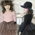 Fashion Teenage Girls Autumn Winter Party Dress Kids Long Sleeve Spot Polka Dot Mesh Tutu Dresses Big Girls School Dress