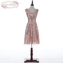 SuperKimJo 2018 Real Photo Rose Sequin Bridesmaid Dresses Short V Neck  Cheap Wedding Party Dresses Vestido Madrinha 608c7533fc65