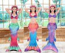 4 Colors Kids Children Mermaid Tails for Swimming tail Girls Cosplay Fancy Costume New Bikini Set Suit Bathing Swimsui