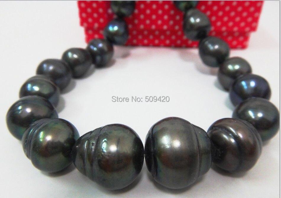 """W и O653 >> > огромный 1"""" 12 X 15.5 природный южного моря подлинный черный жемчуг NECKLACEEARL ожерелье"""