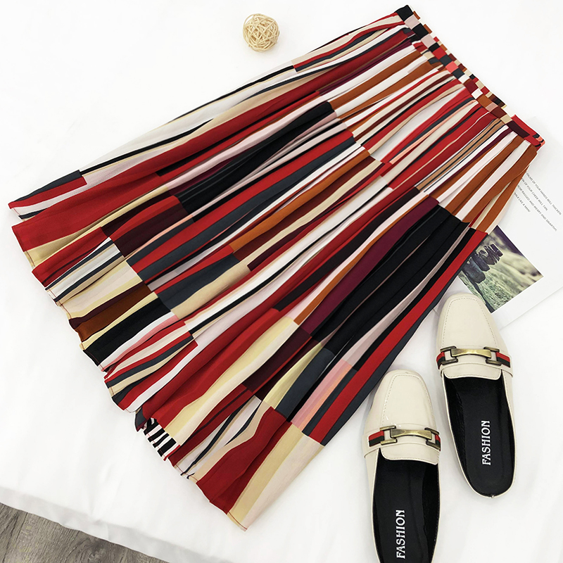12b Stylish and elegant temperament Korean version of the loose thin high waist color matching striped