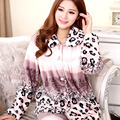 2017  Spring and autumn Style leopard print coral fleece sleepwear female set long-sleeve flannel lounge Women Long Johns