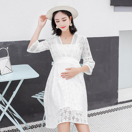Femmes enceintes robe d'été mode costume marée maman été 2019 nouveau long paragraphe sur le genou en mousseline de soie lâche robe d'été