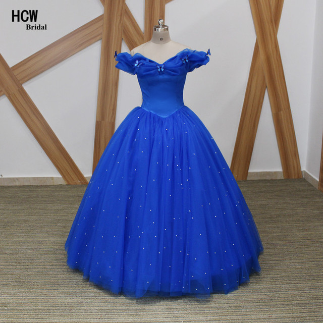 4d04aa8b10 Royal Blue Long Prom Dresses Junoesque Boat Neck Off The Shoulder Cinderella  Ball Gown Prom Dress With Butterfly Robe De Soiree