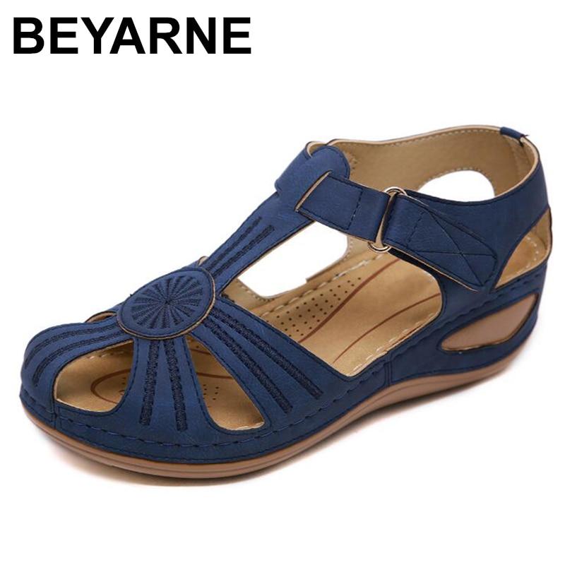 BEYARNE Women Sandals Shoes Wedge Platform Beach-Shoes High-Heel Comfortable Female Plus-Size