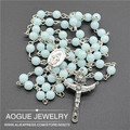 2pcs Religious Rosary platic light blue jelly color Beads Fashion Necklaces  Free Shipping