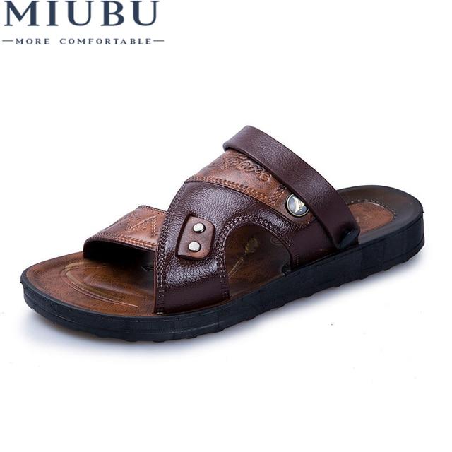b477cbe11 MIUBU de cuero de los hombres sandalias de cuero de Moda hombre sandalias  de los hombres
