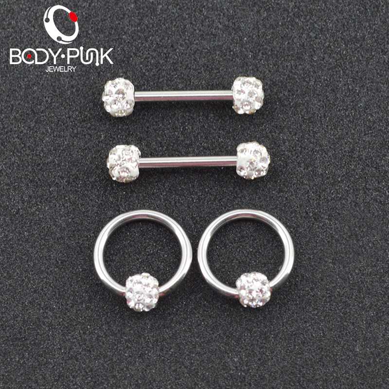 """1PC 14G 1//2/"""" Lined Clear CZ Set Gold IP 316L Surgical Steel Nipple Clicker"""