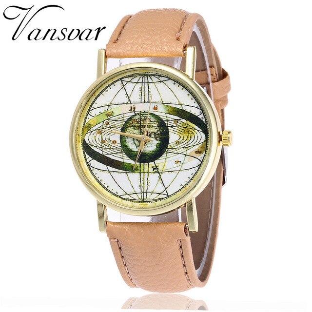 abe1b1261efe 2017 Most Popular Vansvar New Fashion World Map Watch Noble Women Dress  Wrist Watches Ladies Delicacy Quartz Watches Best Gift