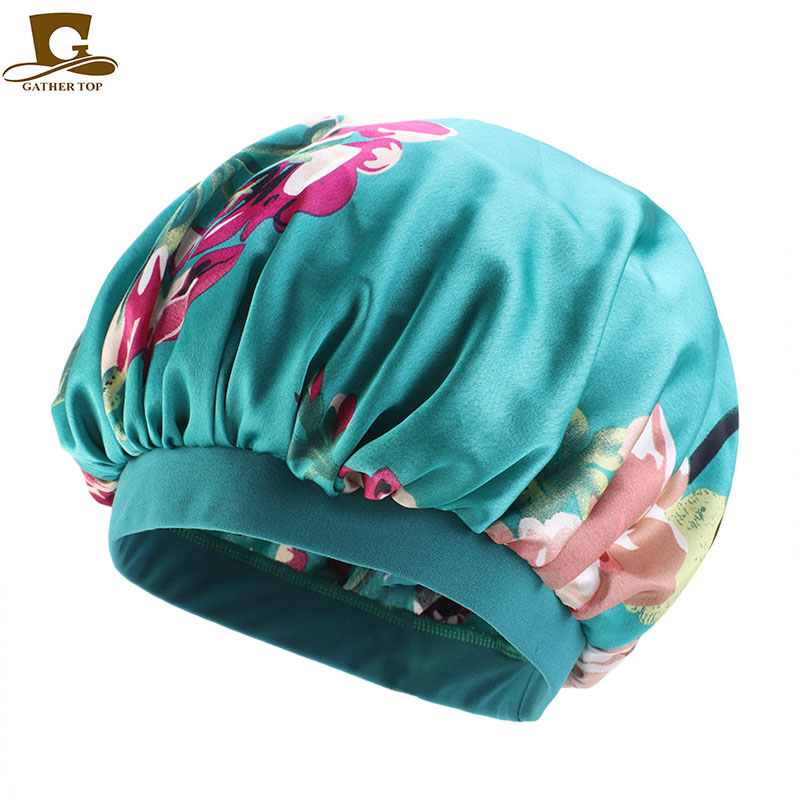 US $3 3 16% OFF|Fashion Wide Band Silky Bonnet Cap Shower cap Comfortable  Night Sleep Hat Prevent Hair Falling Ladies Turban For Women-in Women's  Hair