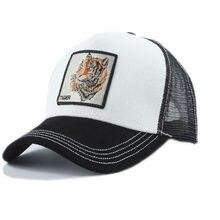 Tygrys zwierząt haft czapki z daszkiem mężczyźni kobiety Snapback Hip Hop kapelusz lato oddychająca Mesh słońce Gorras Unisex Streetwear kości