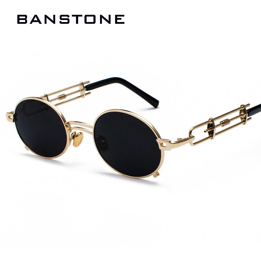 Homens de Metal Oval Quadro BANSTONE Vampiro Gótico Steampunk óculos de Sol Retro Original 1980s Óculos de Sol Cosplay Estilo Oculos de sol