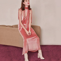 Velvet Off Shoulder Pink Dress Sexy Self Tie Adjustable Deep V Neck Strappy Women Dresses Low