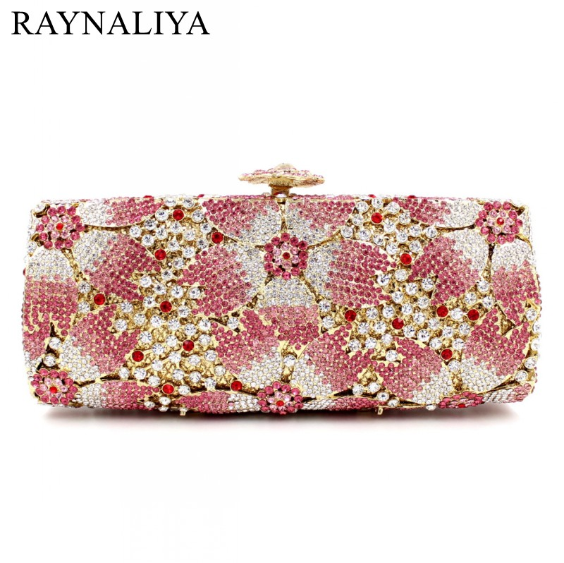 Gift Box Hollow Out Floral Evening Clutches Party Wedding Vintage Rhinestone Pink Crystal Clutch Bag Women Bags SMYZH-E0367 gold plating floral flower hollow out dazzling crystal women bag luxury brand clutches diamonds wedding evening clutch purse