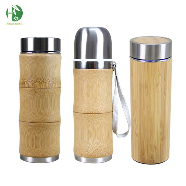 Stainless Steel Thermos bottles for water cover for insulated cups thermal pot mug water coffee flask tea bamboo travel mug