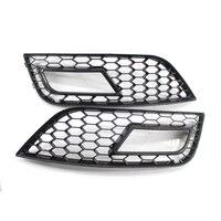 FOR A4 A4 Quattro B9 2013 2015 FRONT BUMPER FOG LIGHT GRILLES GLOSS BLACK