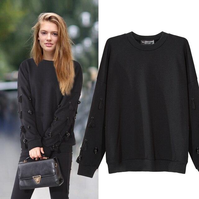 [CHICEVER] 2017 Весна Длинным Рукавом O-образным Вырезом Свободные Пуловеры Большой Размер Женщин Пот Новая Мода Одежда