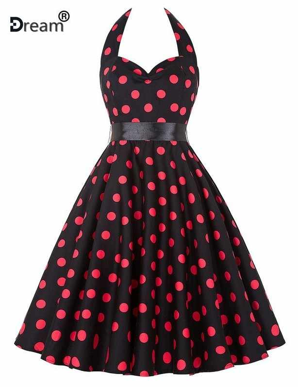 Plus ขนาด Polka Dot Vintage Swing Halter เข็มขัด 50 s 60 s Rockabilly พรหมปาร์ตี้ชุดเดรส Retro Feminino vestidos