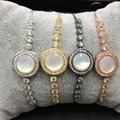 Elegant mother of pearl round charm bracelet classical adjustable tennis round charm bracelet
