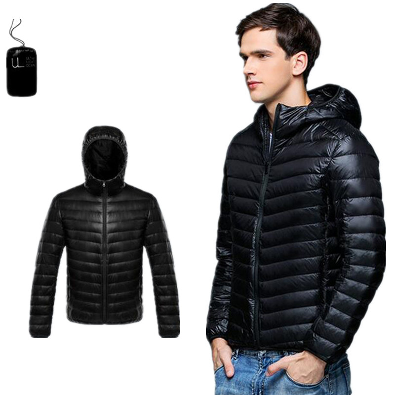2019 Spring and Autumn New Mens Boutique Duck Feather Fashion Solid Color Slim Leisure Down Jackets / Male Thin Hooded Down Coat