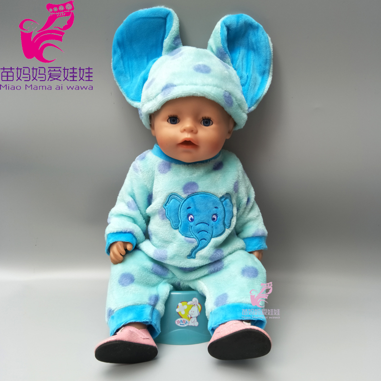 Blue cartoon winter elephant fur clothes set for 43cm 18 inch zapf baby doll outfits suit for 18 inch girl dolls cartoon wearing