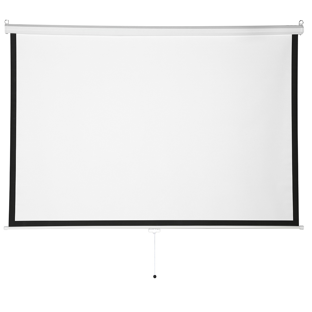 factory supply cheap simple white projector screen manual pull down 100inch diagonal aspect