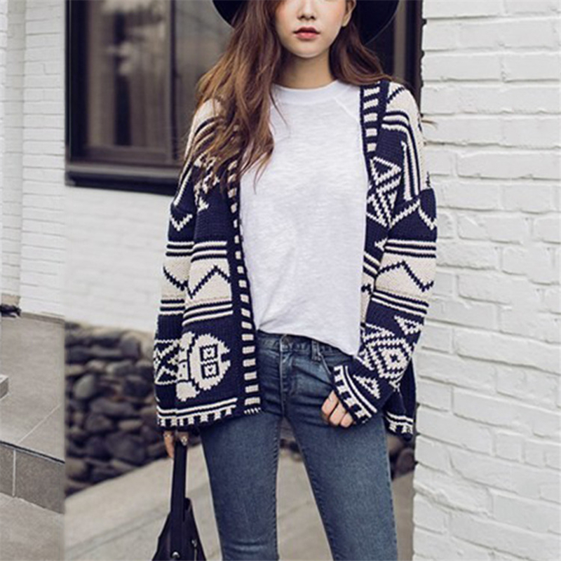 2018 New Sweaters Striped knitting Cardigans Coat Womens Clothes Europe Retro Style V Neck Literary style