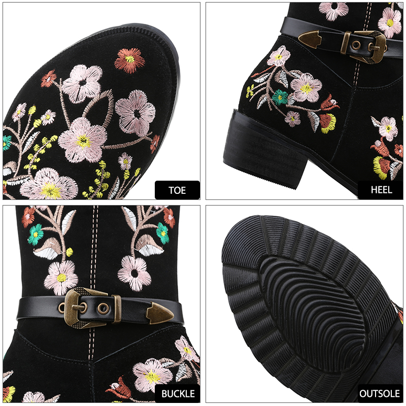 WETKISS Ethnic Style Delicate Embroider Knee Boots Buckle Strap Women's Autumn Winter Boot Genuine Leather Suede Women Shoes