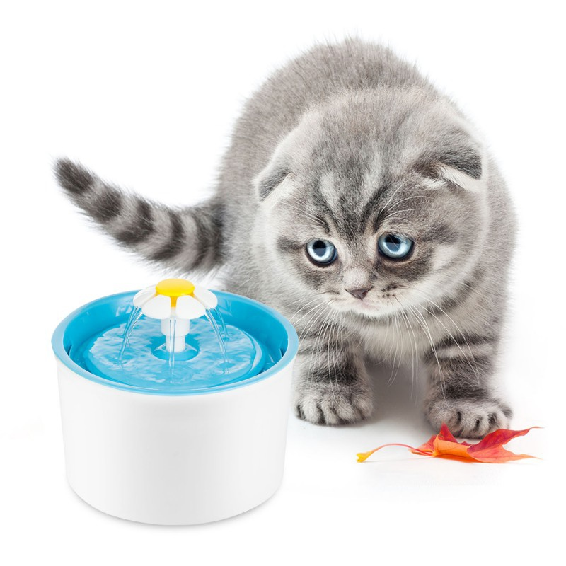 Automatic Pet Feeder Electric Flower Fountain Cats Pet Bowl Drinking Water Dispenser  EU/US Plug