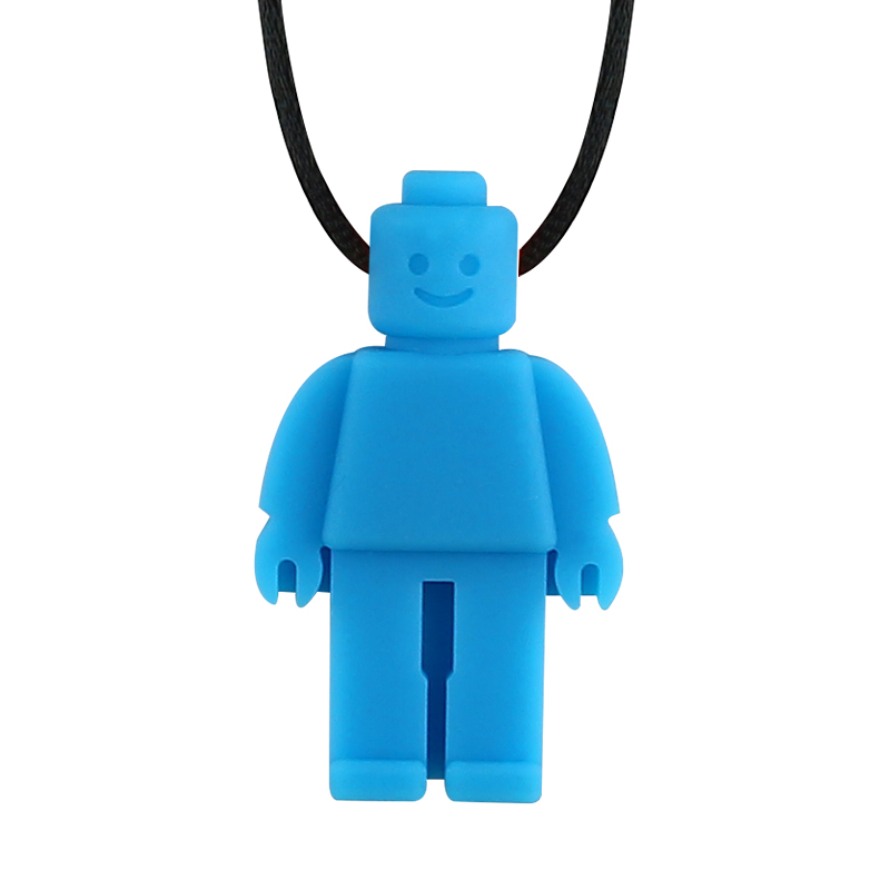 Купить с кэшбэком Silicone Teether Robot Chew Necklace Food Grade Silicone Sensory Chewable Figurine Toy for Kids Baby Autism ADHD