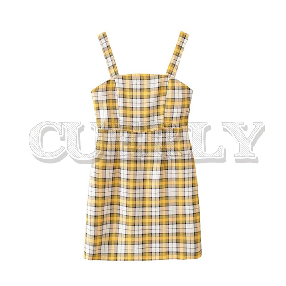 CUERLY women sweet plaid print mini dress spaghetti straps backless female casual yellow dresses vestidos 2019