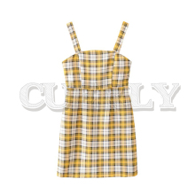 CUERLY women sweet plaid print mini dress spaghetti straps backless female casual yellow dresses vestidos 2019