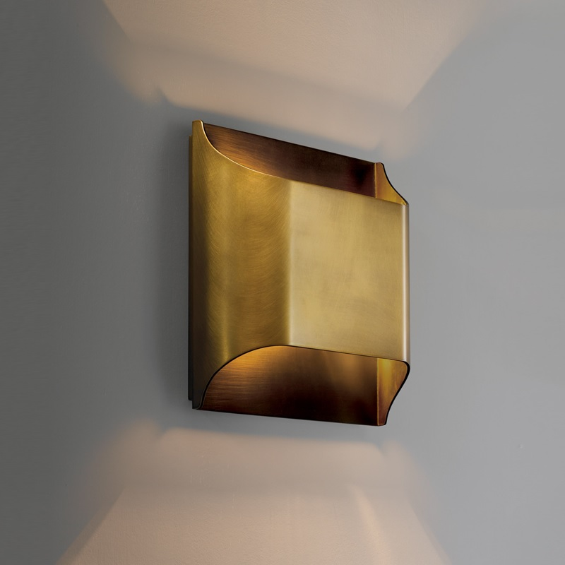 Morgan Collection 24cm High All Brass Wall Lamp / Metal Shade / E14 Socket ...