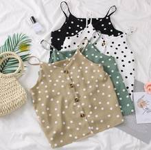2019 Summer Korean Fashion Polka Dots Camis Tops With Buttons Women Chiffon Tank Tops(China)