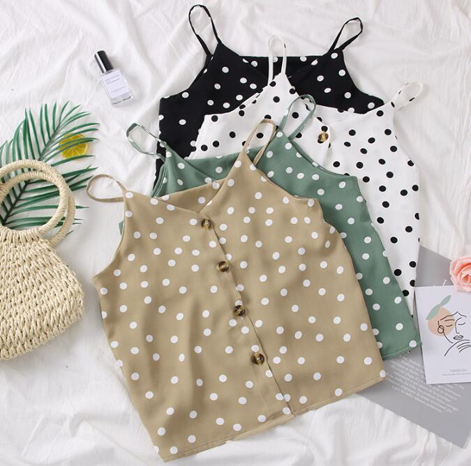 2019 Summer Korean Fashion Polka Dots Camis   Tops   With Buttons Women Chiffon   Tank     Tops
