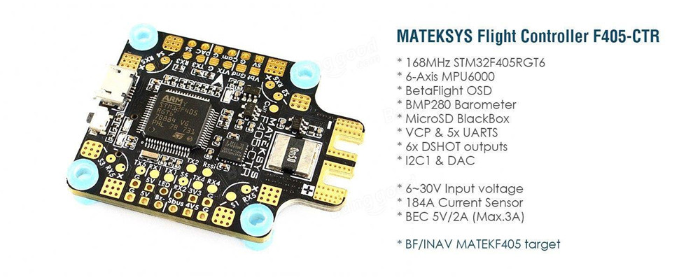 купить Matek MATEKSYS F405-CTR BetaFlight F405 STM32F405 Flight Controller Built-in Osd PDB 5V/2A BEC Current Sensor for RC Multicopter по цене 2502.99 рублей