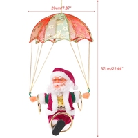 Electric Skydiving Santa Claus Parachute Plush Singing Doll Great Kids Toy