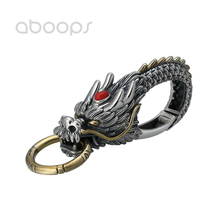 Two Tone 925 Sterling Silver Chinese Dragon Key Chain for Men Women Free Shipping two tone cut out chain bag