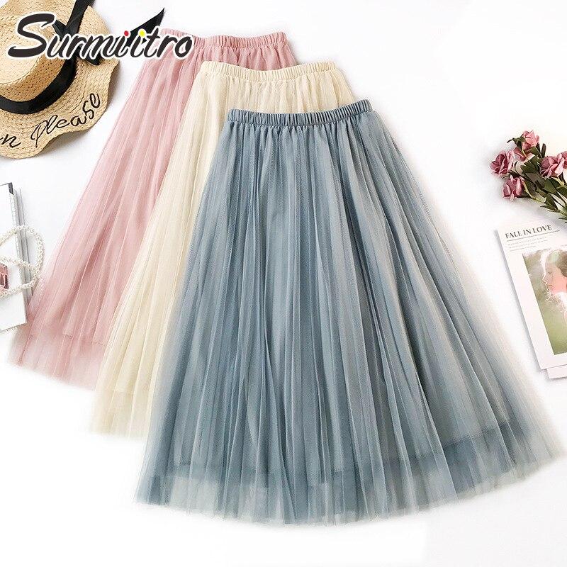 Surmiitro 3 Layers Solid Tulle Pleated Skirt Women 2019 Spring Summer A-line Midi Long Korean High Waist Sun School Skirt Female