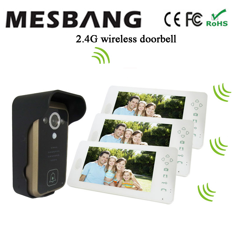 hot  white color door phone video intercom wireless one camera three 7 inch monitor  free shipping